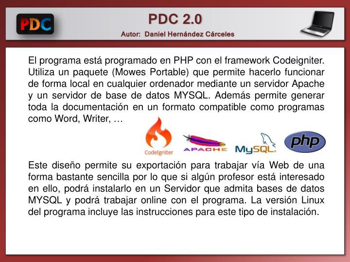 El programa está programado en PHP con el framework Codeigniter. Utiliza un paquete (Mowes Portable) que permite hacerlo funcionar de forma local en cualquier ordenador mediante un servidor Apache y un servidor de base de datos MYSQL. Además permite generar toda la documentación en un formato compatible como programas como Word, Writer, …