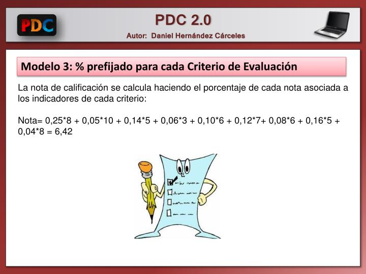 Modelo 3: % prefijado para cada Criterio de Evaluación