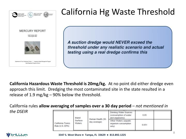 California Hg Waste Threshold
