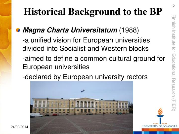 Historical Background to the BP