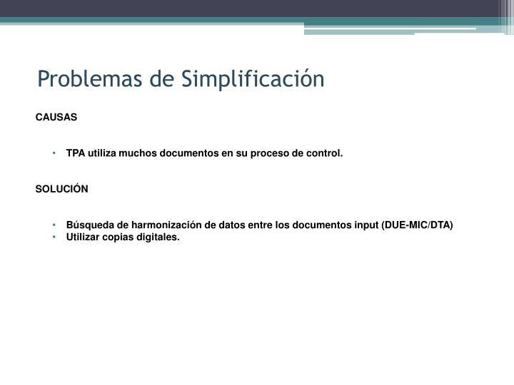 Problemas de Simplificación