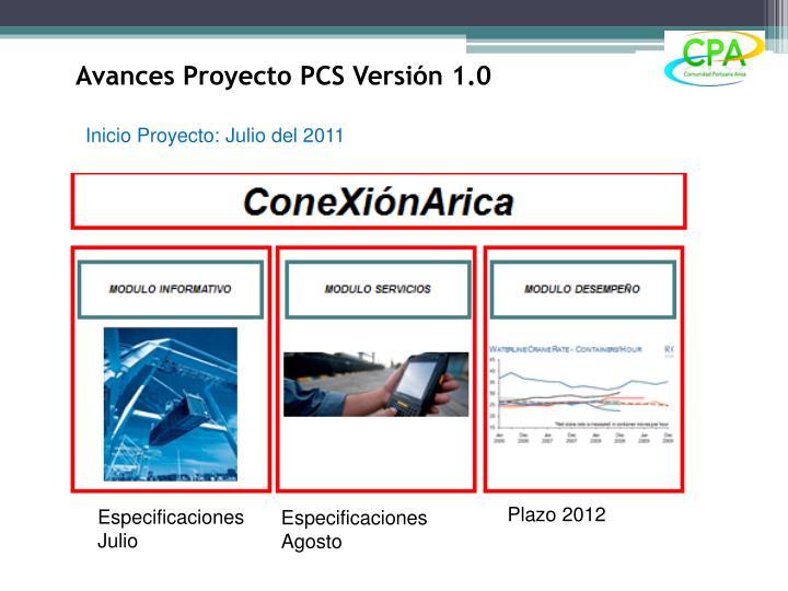 Avances Proyecto PCS Versión 1.0