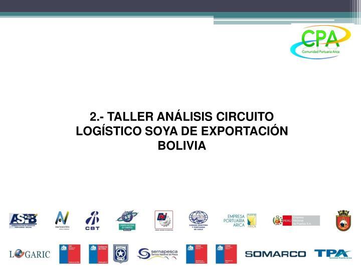 2.- TALLER ANÁLISIS CIRCUITO LOGÍSTICO SOYA DE EXPORTACIÓN BOLIVIA