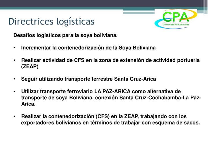 Directrices logísticas