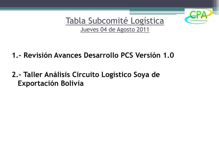 Tabla subcomit log stica jueves 04 de agosto 2011