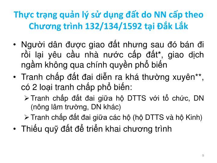 Thực trạng quản lý sử dụng đất do NN cấp theo Chương trình 132/134/1592 tại Đắk Lắk