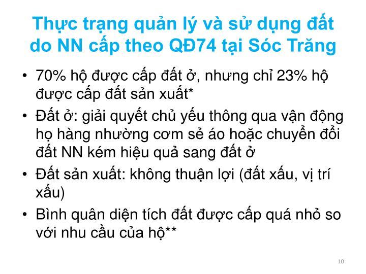 Thực trạng quản lý và sử dụng đất do NN cấp theo QĐ74 tại Sóc Trăng