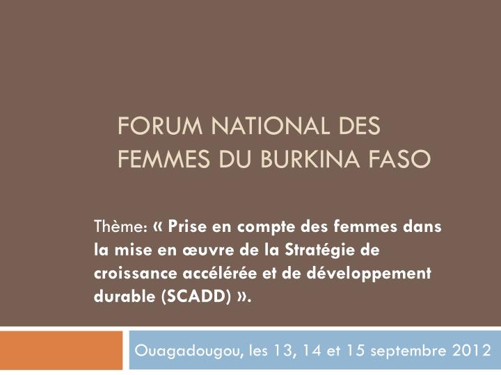 Forum national des femmes du burkina faso