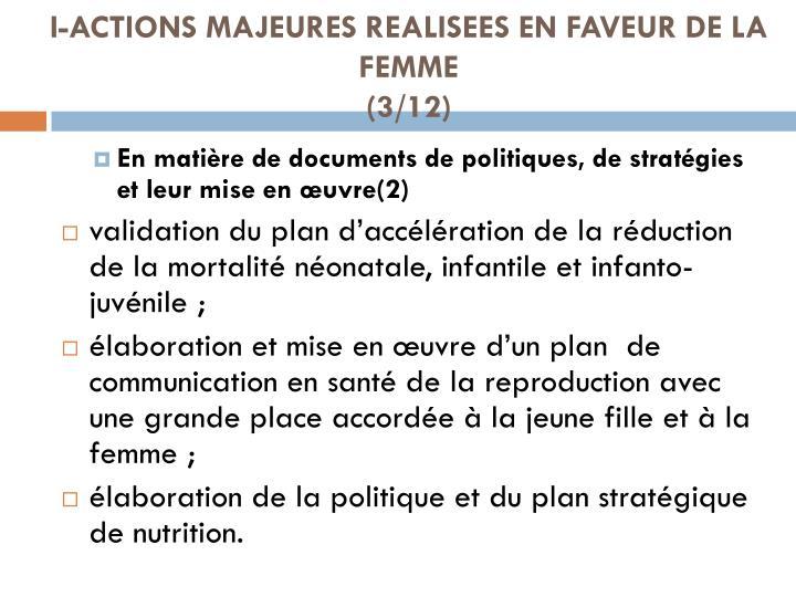 I-ACTIONS MAJEURES REALISEES EN FAVEUR DE LA FEMME