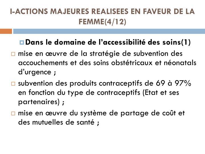 I-ACTIONS MAJEURES REALISEES EN FAVEUR DE LA FEMME(4/12)