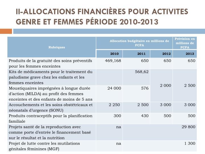 II-ALLOCATIONS FINANCIÈRES POUR ACTIVITES GENRE ET FEMMES PÉRIODE 2010-2013