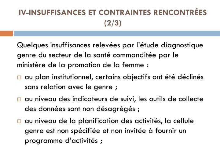 IV-INSUFFISANCES ET CONTRAINTES RENCONTRÉES (2/3)