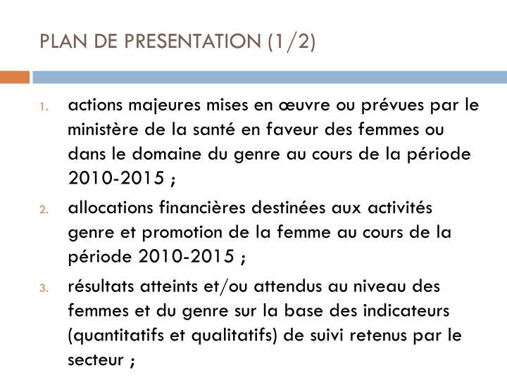 PLAN DE PRESENTATION (1/2)