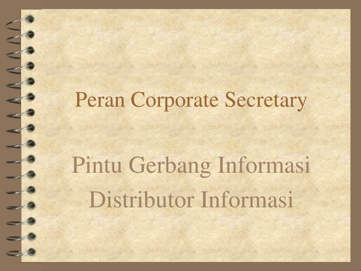 Peran Corporate Secretary