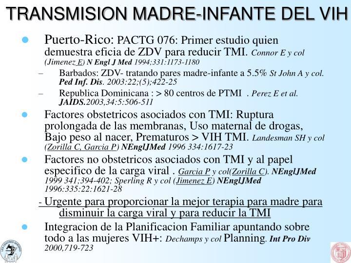TRANSMISION MADRE-INFANTE DEL VIH