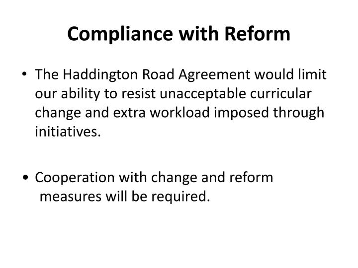 Compliance with Reform