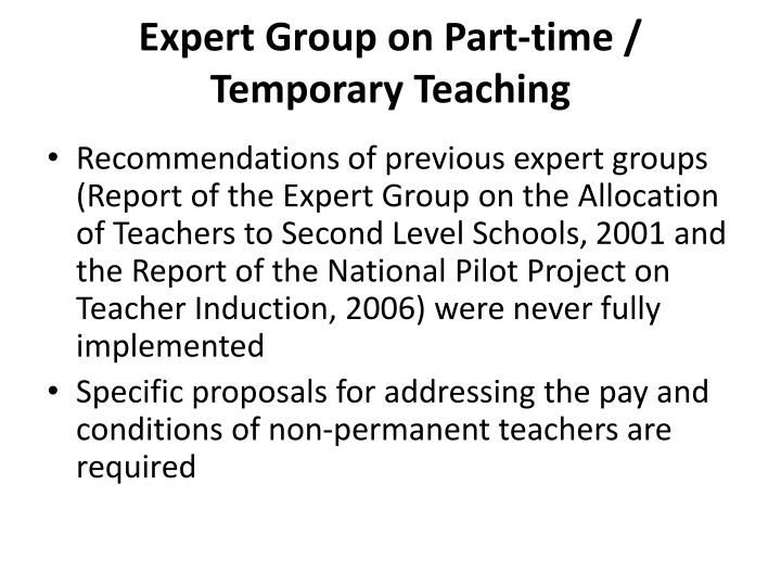 Expert Group on Part-time / Temporary Teaching