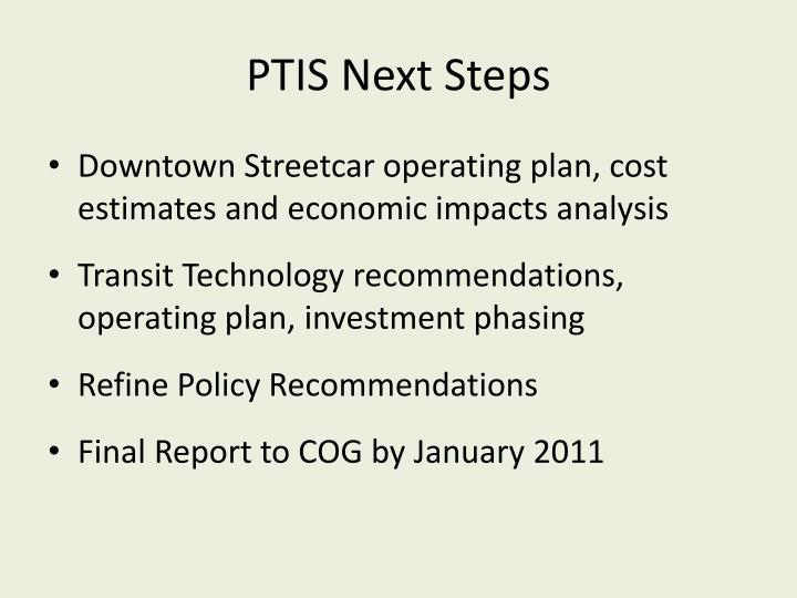 PTIS Next Steps