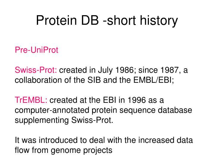 Protein DB -short history
