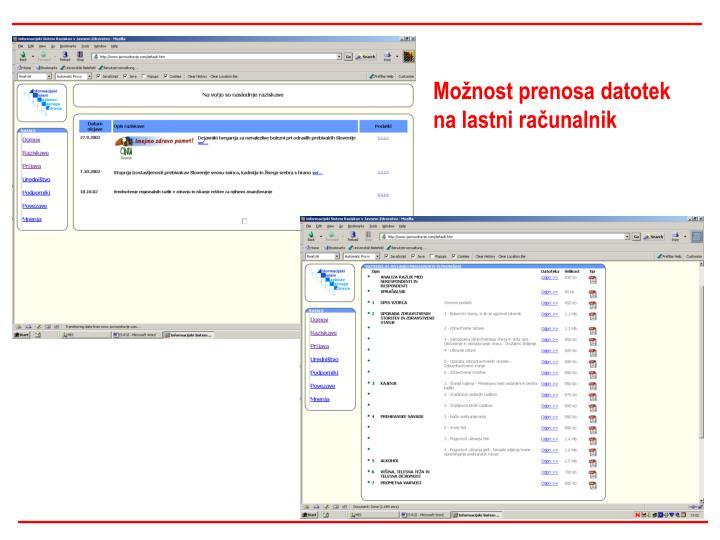 Možnost prenosa datotek na lastni računalnik