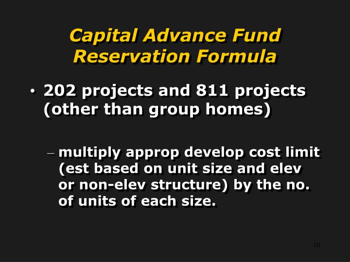 Capital Advance Fund Reservation Formula
