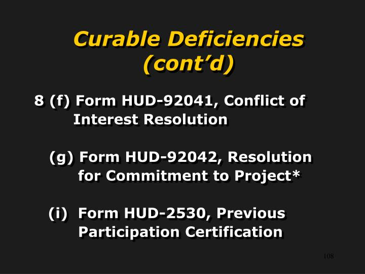 Curable Deficiencies (cont'd)