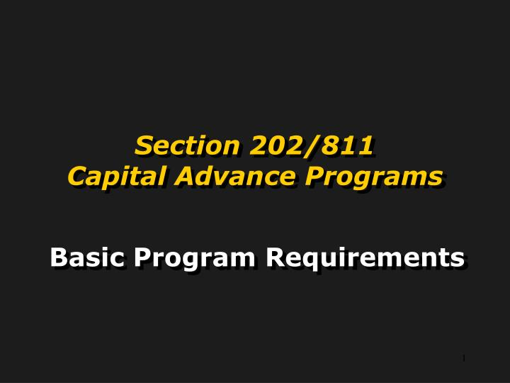 Section 202 811 capital advance programs