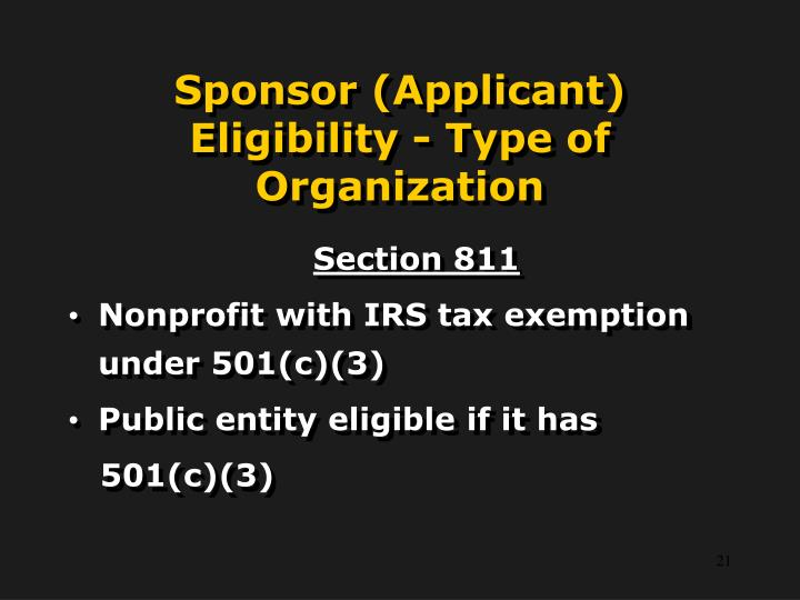 Sponsor (Applicant) Eligibility - Type of Organization