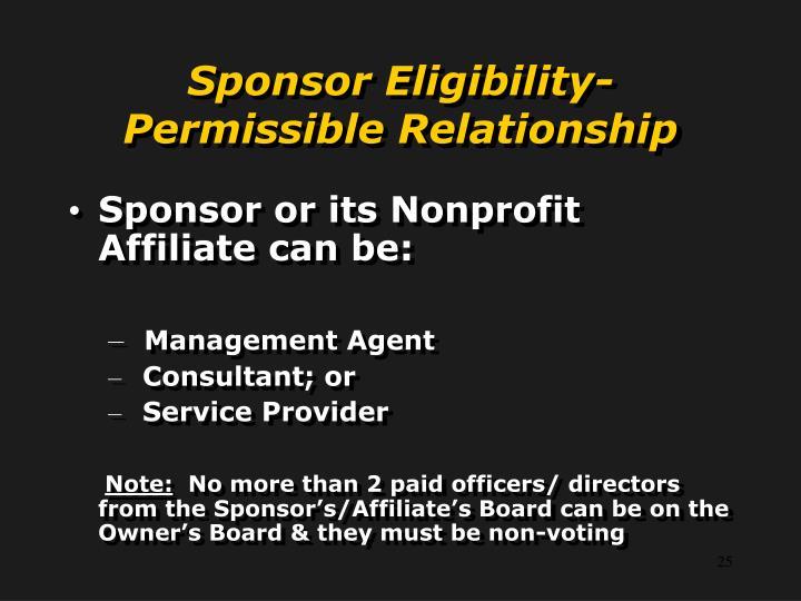 Sponsor Eligibility-