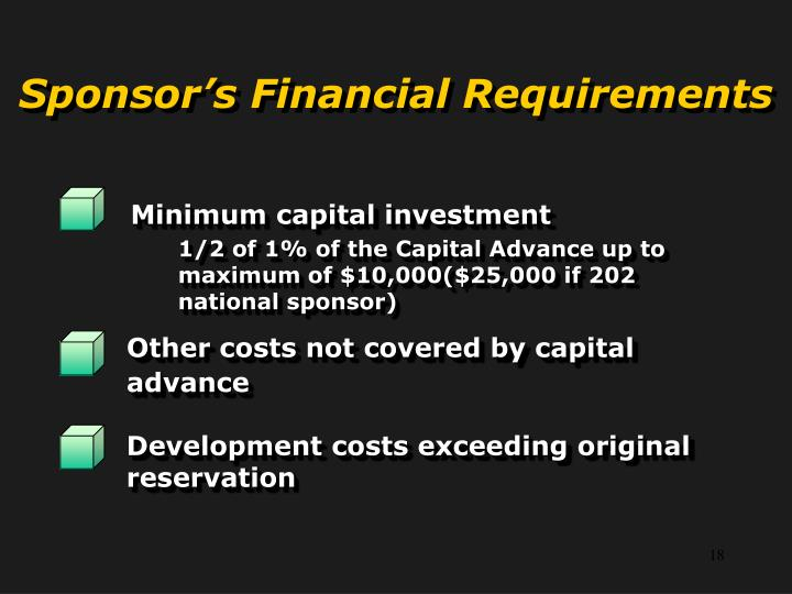 Sponsor's Financial Requirements