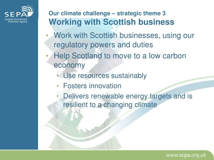 Our climate challenge – strategic theme 3