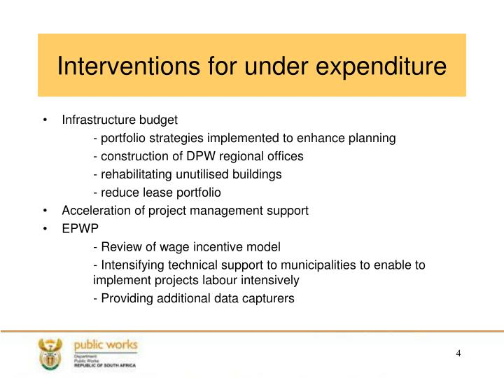 Interventions for under expenditure