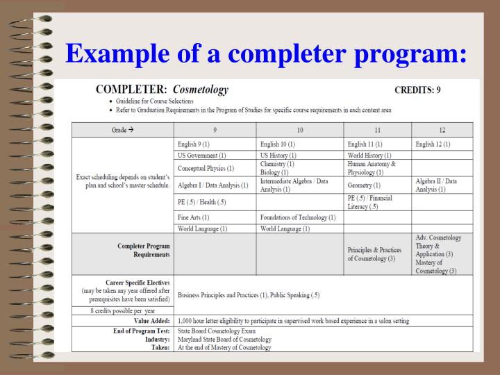 Example of a completer program: