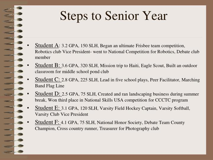 Steps to Senior Year
