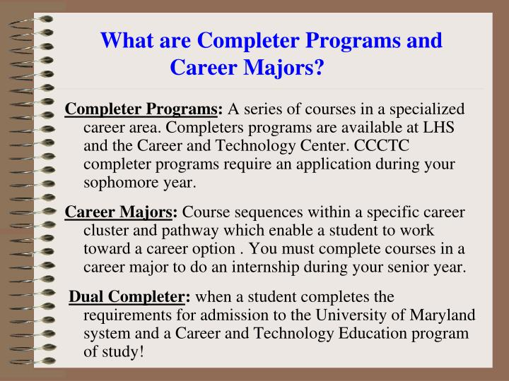 What are Completer Programs and Career Majors?