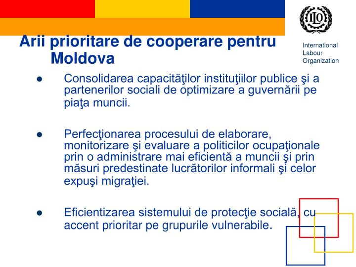 Arii prioritare de cooperare pentru Moldova