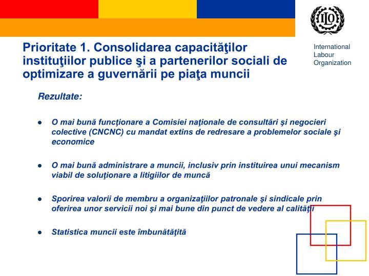 Prioritate 1. Consolidarea capacităţilor instituţiilor publice şi a partenerilor sociali de optimizare a guvernării pe piaţa muncii