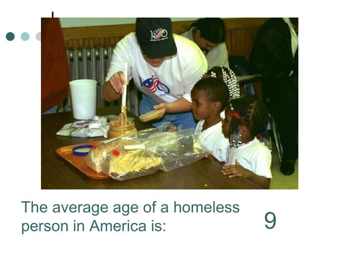 The average age of a homeless person in America is: