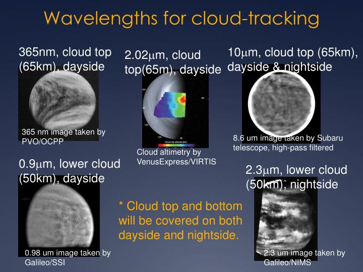 Wavelengths for cloud-tracking