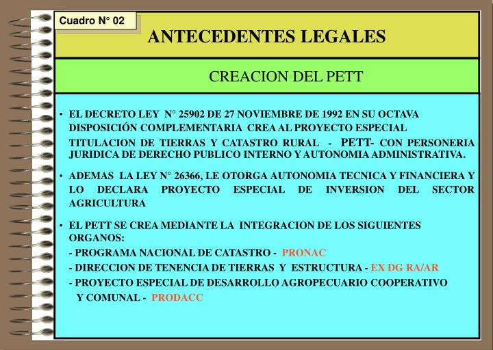 ANTECEDENTES LEGALES