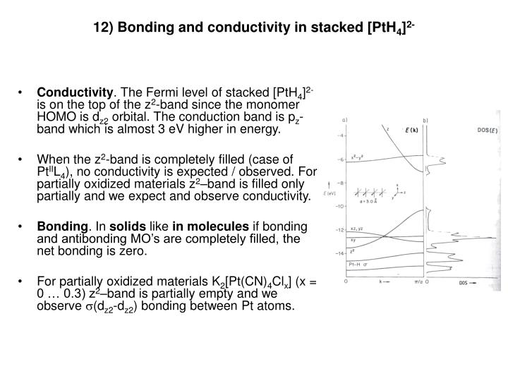 12) Bonding and conductivity in stacked [PtH