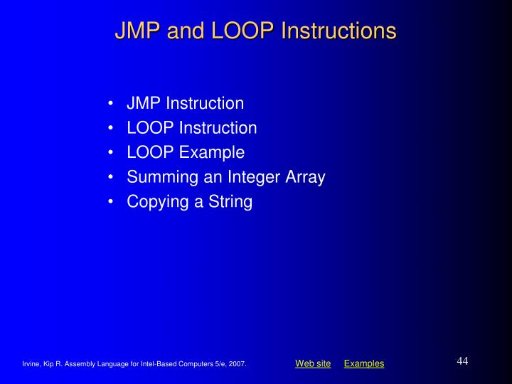 JMP and LOOP Instructions