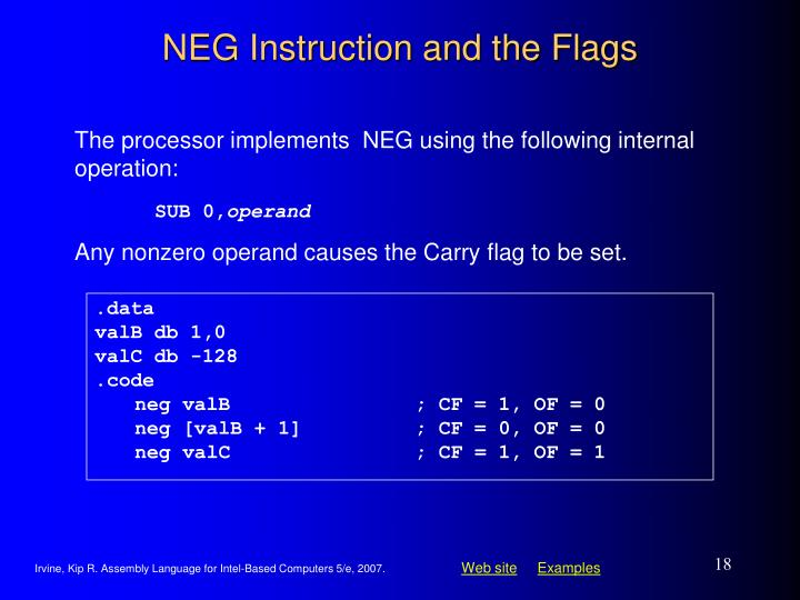 NEG Instruction and the Flags