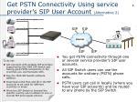 get pstn connectivity using service provider s sip user account alternative 2