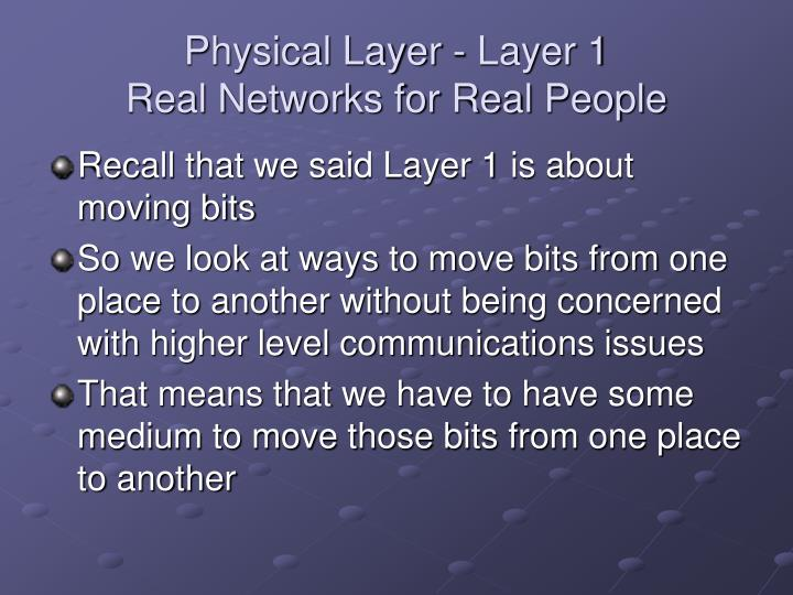Physical layer layer 1 real networks for real people
