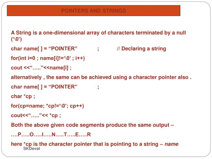 POINTERS AND STRINGS