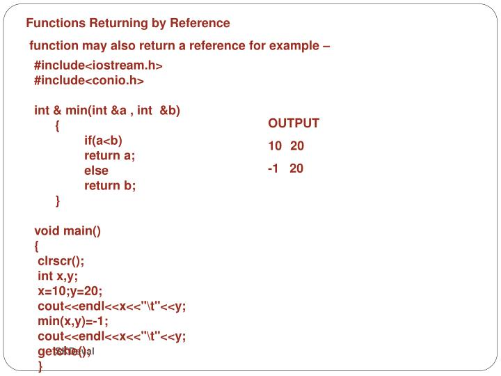 Functions Returning by Reference