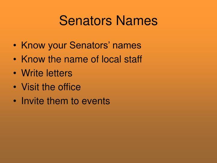 Senators Names