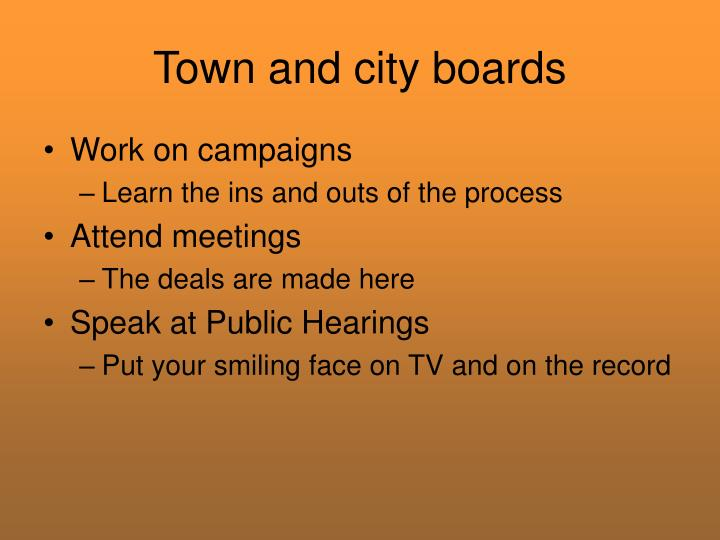 Town and city boards