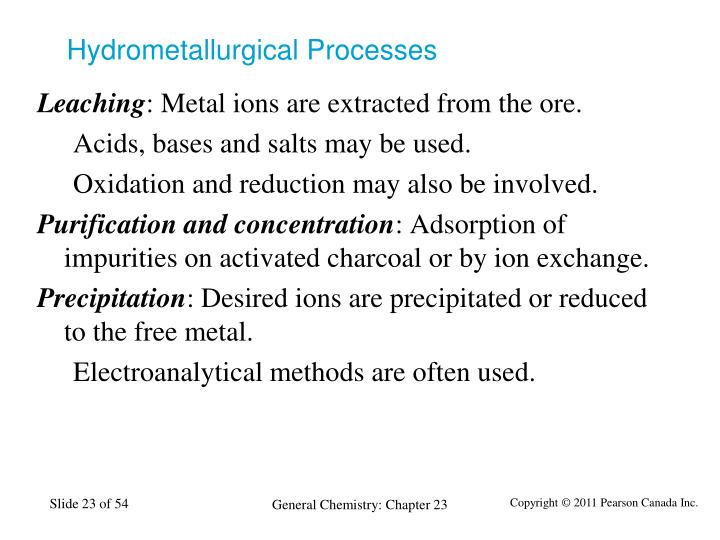 Hydrometallurgical Processes